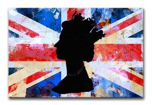 Union Jack Queen in Silhouette Print - Canvas Art Rocks - 1