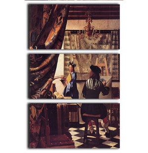 The Allegory of Painting by Vermeer 3 Split Panel Canvas Print - Canvas Art Rocks - 1