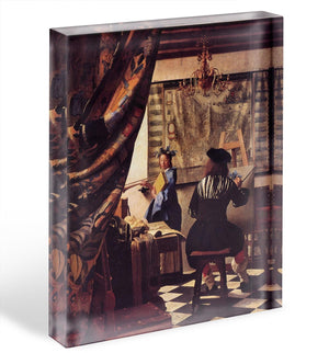 The Allegory of Painting by Vermeer Acrylic Block - Canvas Art Rocks - 1