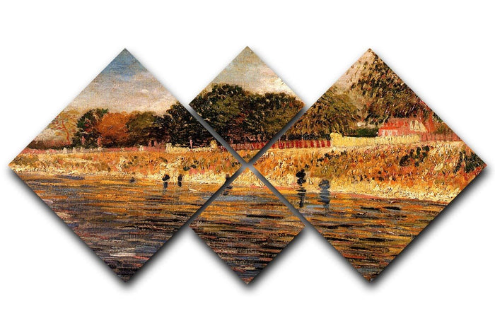 The Banks of the Seine by Van Gogh 4 Square Multi Panel Canvas