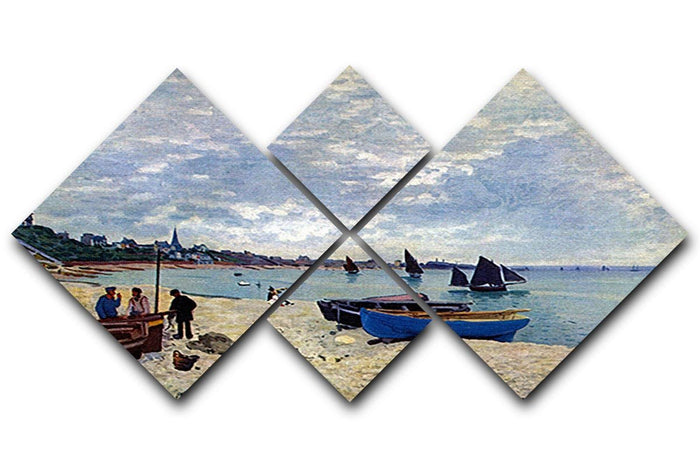 The Beach at Sainte Adresse 2 by Monet 4 Square Multi Panel Canvas