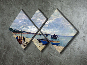 The Beach at Sainte Adresse 2 by Monet 4 Square Multi Panel Canvas - Canvas Art Rocks - 2