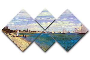 The Beach at Sainte Adresse by Monet 4 Square Multi Panel Canvas  - Canvas Art Rocks - 1