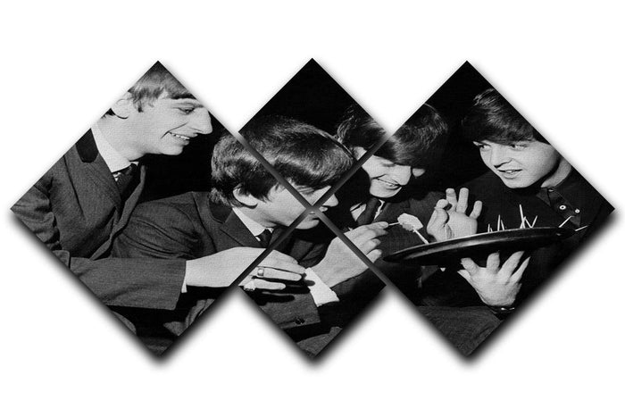 The Beatles before going on stage 4 Square Multi Panel Canvas