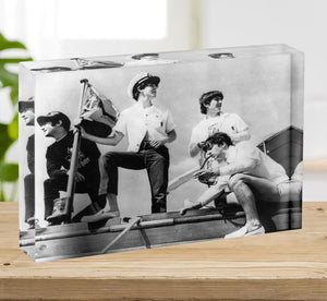 The Beatles on board a yacht Acrylic Block - Canvas Art Rocks - 2