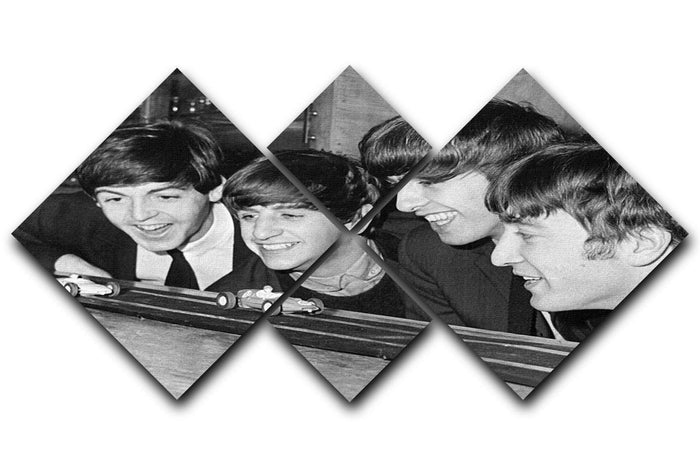 The Beatles play with toy racing cars 4 Square Multi Panel Canvas