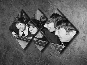 The Beatles play with toy racing cars 4 Square Multi Panel Canvas - Canvas Art Rocks - 2