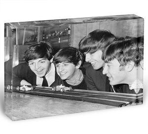 The Beatles play with toy racing cars Acrylic Block - Canvas Art Rocks - 1