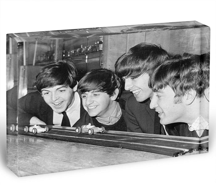 The Beatles play with toy racing cars Acrylic Block