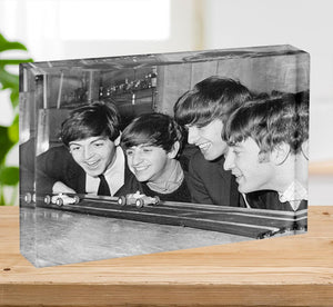 The Beatles play with toy racing cars Acrylic Block - Canvas Art Rocks - 2