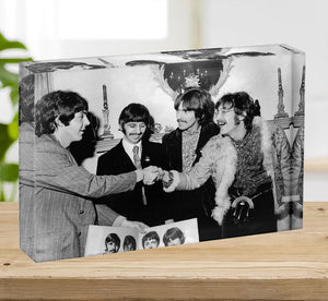 The Beatles shaking hands in 1967 Acrylic Block - Canvas Art Rocks - 2