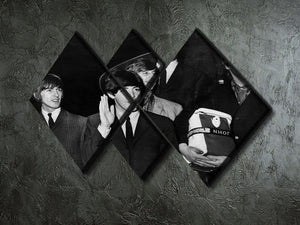 The Beatles with Brian Epstein at London Airport 4 Square Multi Panel Canvas - Canvas Art Rocks - 2