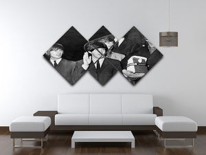 The Beatles with Brian Epstein at London Airport 4 Square Multi Panel Canvas - Canvas Art Rocks - 3