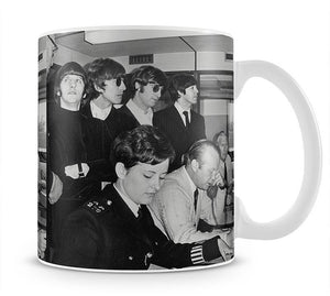 The Beatles with police at London Airport Mug - Canvas Art Rocks - 1