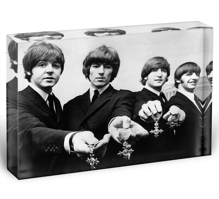The Beatles with their MBEs Acrylic Block