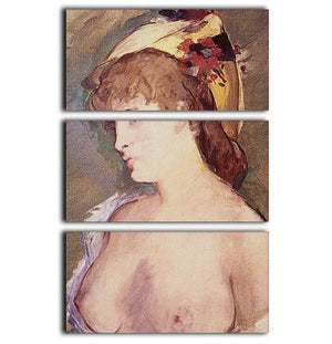 The Blond Nude by Manet 3 Split Panel Canvas Print - Canvas Art Rocks - 1