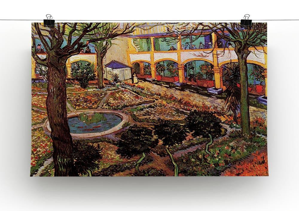 """The Courtyard Hospital In Arles Vincent Van Gogh Canvas Print Poster 16X12/"""""""