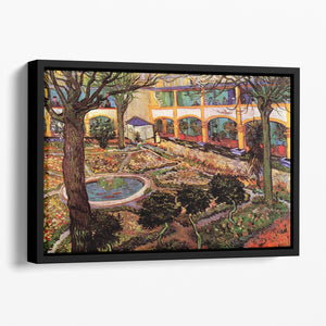 The Courtyard of the Hospital at Arles by Van Gogh Floating Framed Canvas