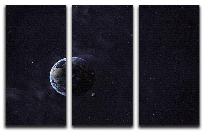 The Earth from space showing all they beauty 3 Split Panel Canvas Print