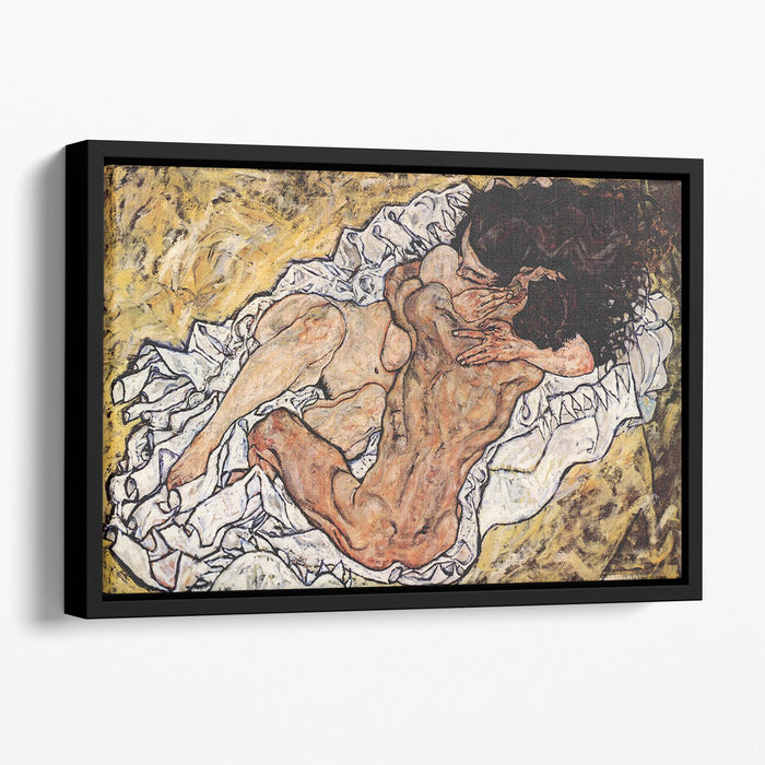 The Embrace by Egon Schiele Floating Framed Canvas