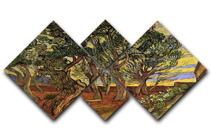 The Garden of Saint-Paul Hospital 4 by Van Gogh 4 Square Multi Panel Canvas  - Canvas Art Rocks - 1
