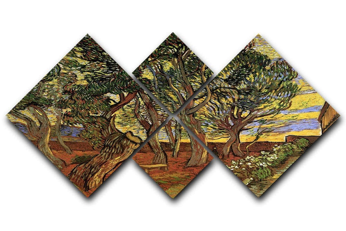 The Garden of Saint-Paul Hospital 4 by Van Gogh 4 Square Multi Panel Canvas