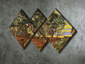 The Garden of Saint-Paul Hospital 4 by Van Gogh 4 Square Multi Panel Canvas - Canvas Art Rocks - 2