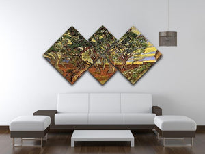 The Garden of Saint-Paul Hospital 4 by Van Gogh 4 Square Multi Panel Canvas - Canvas Art Rocks - 3