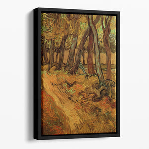The Garden of Saint-Paul Hospital with Figure by Van Gogh Floating Framed Canvas