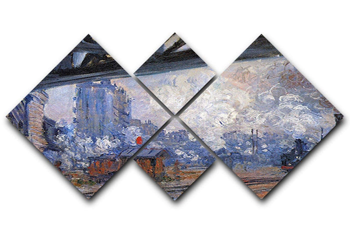The Gare Saint Lazare by Monet 4 Square Multi Panel Canvas