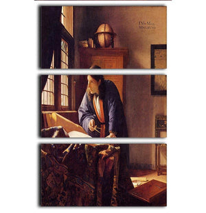 The Geographer by Vermeer 3 Split Panel Canvas Print - Canvas Art Rocks - 1