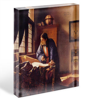 The Geographer by Vermeer Acrylic Block - Canvas Art Rocks - 1