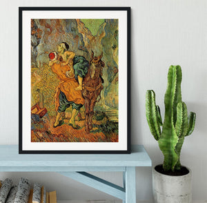 The Good Samaritan after Delacroix by Van Gogh Framed Print - Canvas Art Rocks - 1