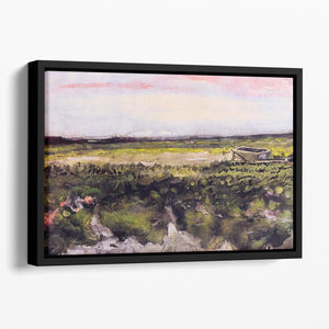The Heath with a Wheelbarrow by Van Gogh Floating Framed Canvas