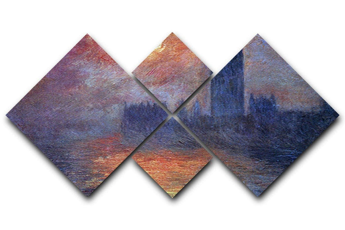 The Houses of Parliament Sunset by Monet 4 Square Multi Panel Canvas