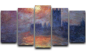 The Houses of Parliament Sunset by Monet 5 Split Panel Canvas  - Canvas Art Rocks - 1