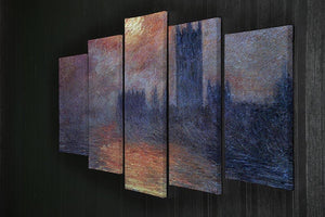 The Houses of Parliament Sunset by Monet 5 Split Panel Canvas - Canvas Art Rocks - 2
