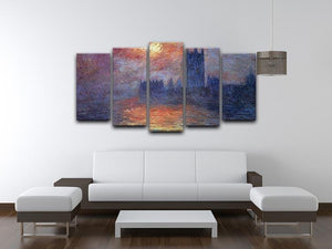 The Houses of Parliament Sunset by Monet 5 Split Panel Canvas - Canvas Art Rocks - 3