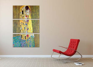 The Kiss 2 by Klimt 3 Split Panel Canvas Print - Canvas Art Rocks - 2