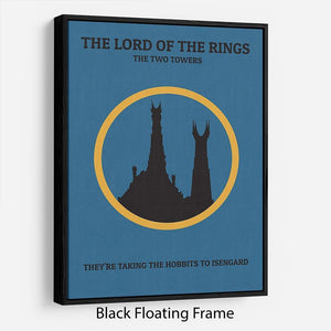 The Lord Of The Rings The Two Towers Minimal Movie Floating Frame Canvas - Canvas Art Rocks - 1
