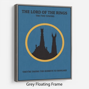 The Lord Of The Rings The Two Towers Minimal Movie Floating Frame Canvas - Canvas Art Rocks - 3