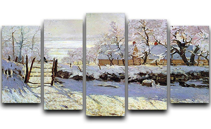 The Magpie by Monet 5 Split Panel Canvas