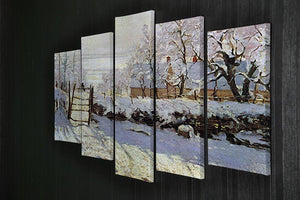 The Magpie by Monet 5 Split Panel Canvas - Canvas Art Rocks - 2