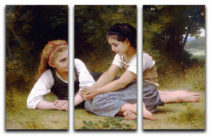 The Nut Gatherers By Bouguereau 3 Split Panel Canvas Print - Canvas Art Rocks - 1