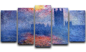 The Parlaiment in London by Monet 5 Split Panel Canvas  - Canvas Art Rocks - 1
