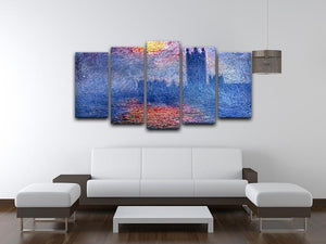 The Parlaiment in London by Monet 5 Split Panel Canvas - Canvas Art Rocks - 3