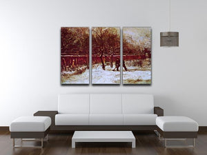 The Parsonage Garden at Nuenen in the Snow by Van Gogh 3 Split Panel Canvas Print - Canvas Art Rocks - 4