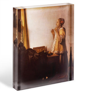 The Pearl Necklace by Vermeer Acrylic Block - Canvas Art Rocks - 1