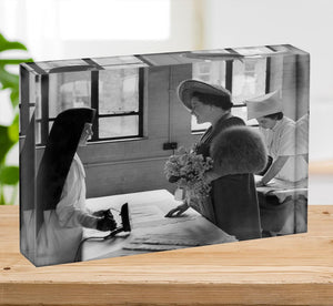 The Queen Mother at a training college Acrylic Block - Canvas Art Rocks - 2