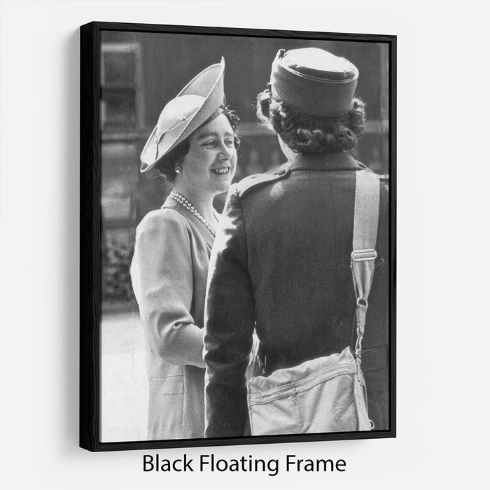 The Queen Mother inspecting WW2 service members Floating Frame Canvas